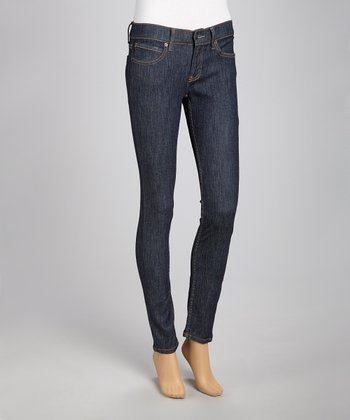 Medium Stone-Washed Dobby Soft Skinny Jeans