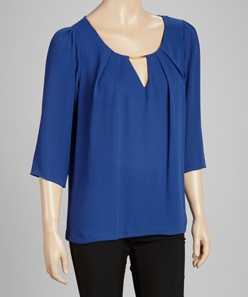Royal Blue Pleated Embellished Top