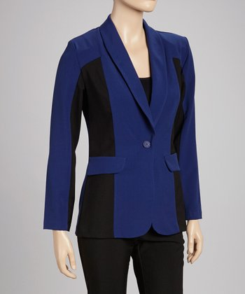 Royal Blue & Black Color Block Blazer & Pants Set
