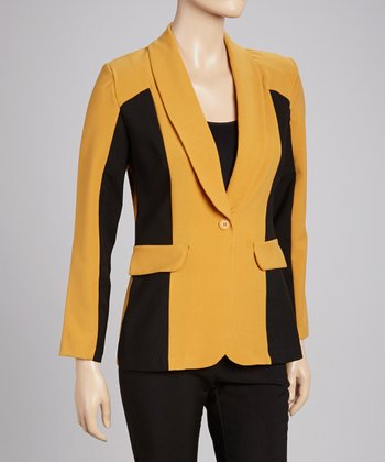 Yellow & Black Color Block Blazer & Pants Set
