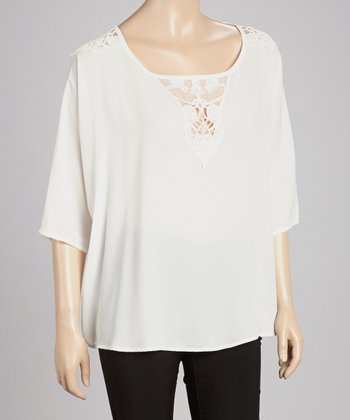 White Lace-Panel Cape-Sleeve Top