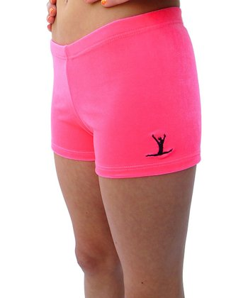 Hot Pink Embroidered Gym Star Shorts - Toddler & Girls