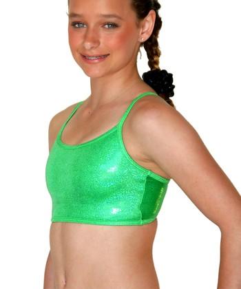 TumbleWear Green Sparkle Gym Star Sports Bra - Girls