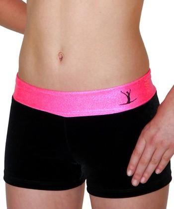 TumbleWear Black & Hot Pink Gym Star Hipster Shorts - Toddler & Girls