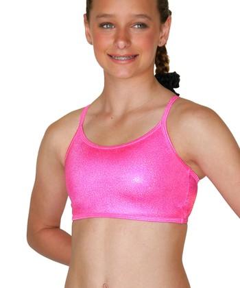 TumbleWear Hot Pink Sparkle Gym Star Sports Bra - Girls
