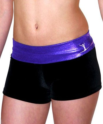 Black & Purple Gym Star Hipster Shorts - Toddler & Girls