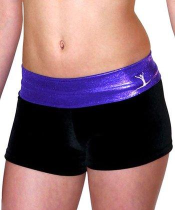 TumbleWear Black & Purple Gym Star Hipster Shorts - Toddler & Girls