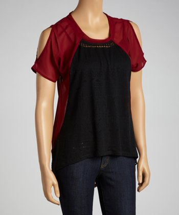 Black & Wine Shirttail Top