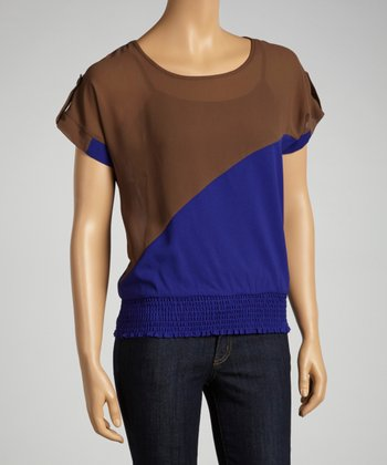 Brown & Blue Color Block Top