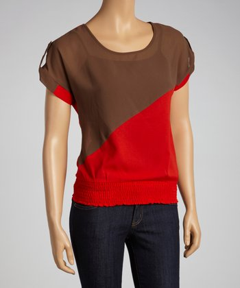 Brown & Red Color Block Top