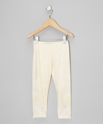 Buttercream Rhinestone Flower Lace Leggings - Toddler & Girls