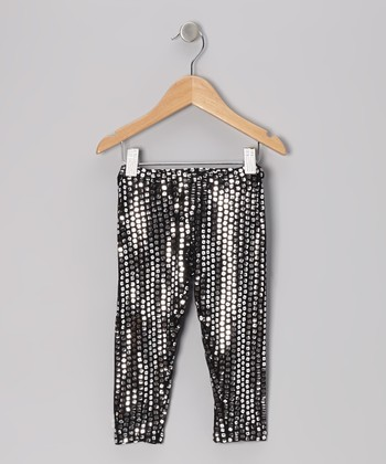 Silver Sequin Leggings - Toddler & Girls