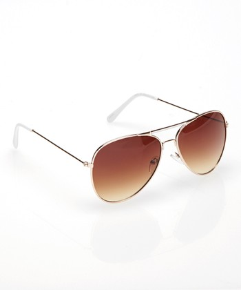 Gold & White Accomplice Pilot Sunglasses