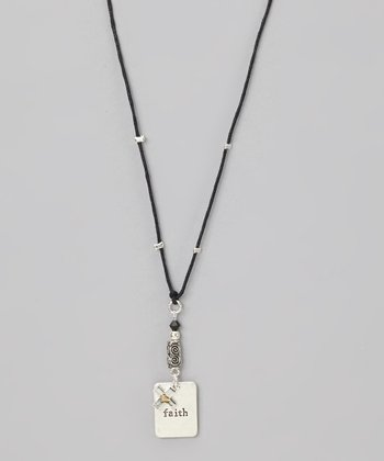Black 'Faith' Cross Charm Necklace