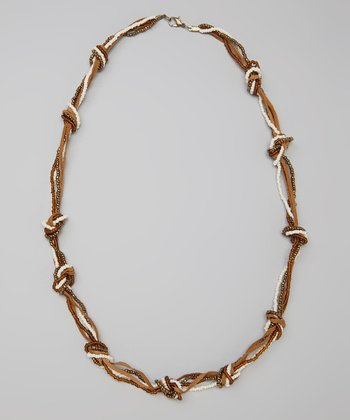 Brown & Ivory Beaded Necklace