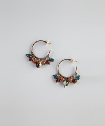 Brown & Green Bead Hoop Earrings