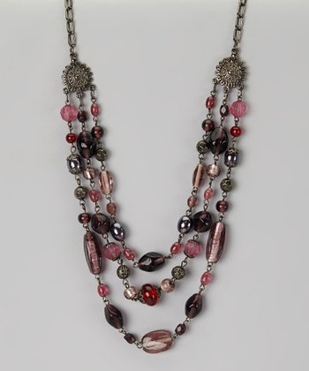 Silver & Red Beaded Necklace