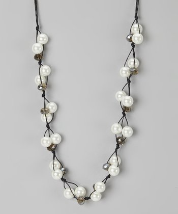 Black Cord Pearl Necklace