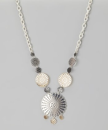 Silver & Gold Graduated Disc Necklace