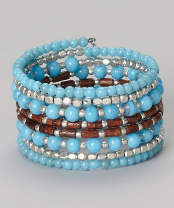 Blue & Brown Beaded Coil Bracelet