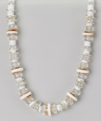 White & Crystal Beaded Necklace