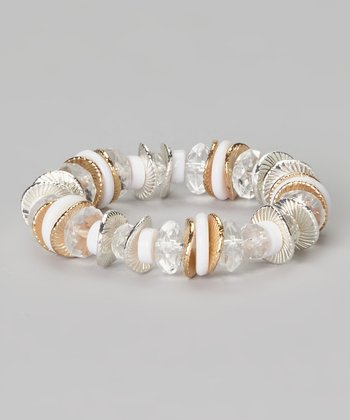 White & Crystal Beaded Stretch Bracelet