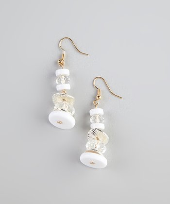 White & Crystal Bead Earrings
