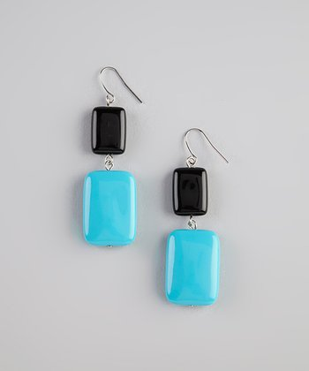 Blue & Black Bead Earrings