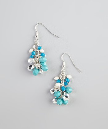 Blue & Cream Bead Earrings
