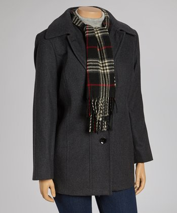 Charcoal Wool-Blend Coat & Scarf - Plus