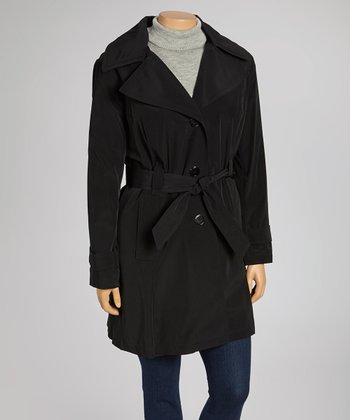 Black Trench Coat - Plus