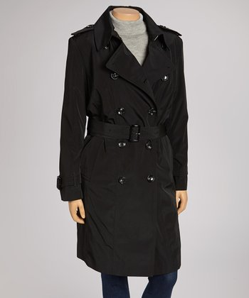 Black Double-Breasted Trench Coat - Plus