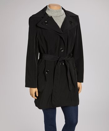Black Double-Collar Trench Coat - Plus