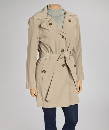Toffee Double-Collar Trench Coat - Plus