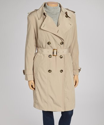 Tan Double-Collar Trench Coat - Plus