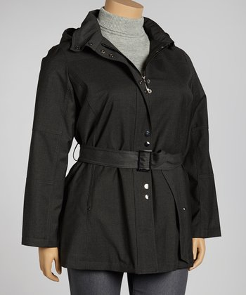 Charcoal Belted Jacket - Plus