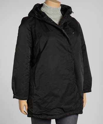 Black Asymmetrical Hooded Jacket - Plus