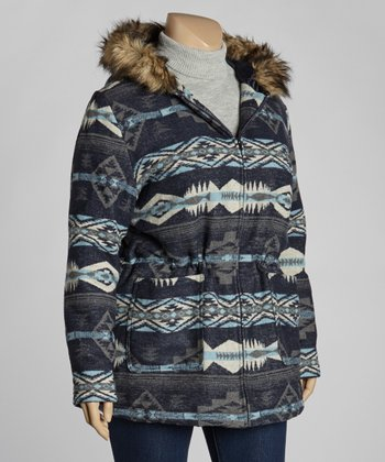 Blue Aztec Hooded Coat - Plus