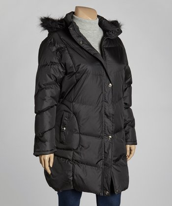 Black Walker Puffer Jacket - Plus