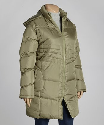 Olive Hooded Walker Puffer Jacket - Plus