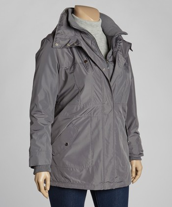 Vapor Gray Luminous Raincoat - Plus