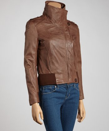 Chestnut Leather Jacket - Petite