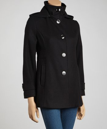 Black Wool-Blend Coat - Petite