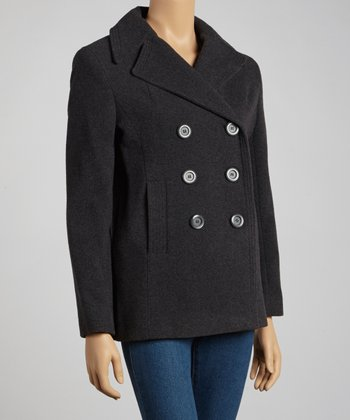 Charcoal Notch-Collar Wool-Blend Peacoat - Petite
