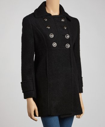 Black Wool-Blend Peacoat - Petite