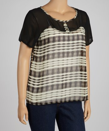 Black & White Mesh Short-Sleeve Top - Plus
