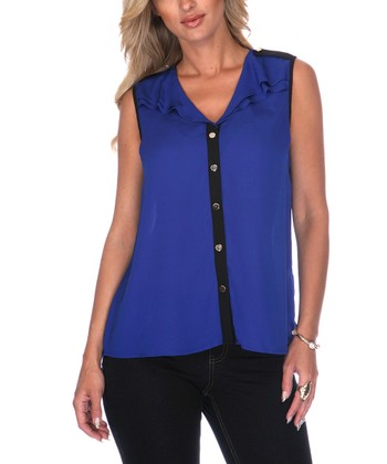 Blue & Black Chiffon Sleeveless Button-Up