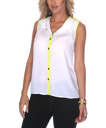 White & Lime Chiffon Sleeveless Button-Up