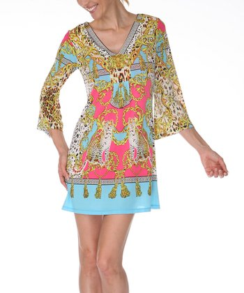 Yellow & Turquoise Status Minidress