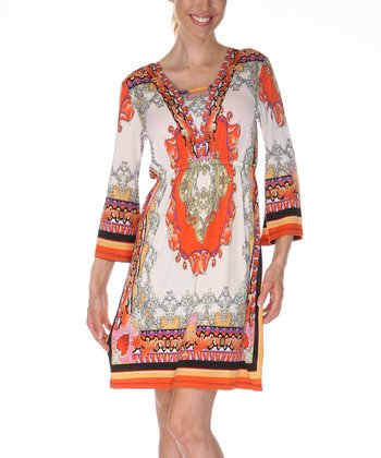 Ivory & Orange Square Neck Dress